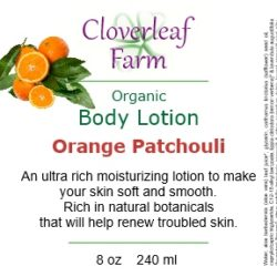 Orange Patchouli Body Lotion label