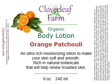 Orange Patchouli Body Lotion label